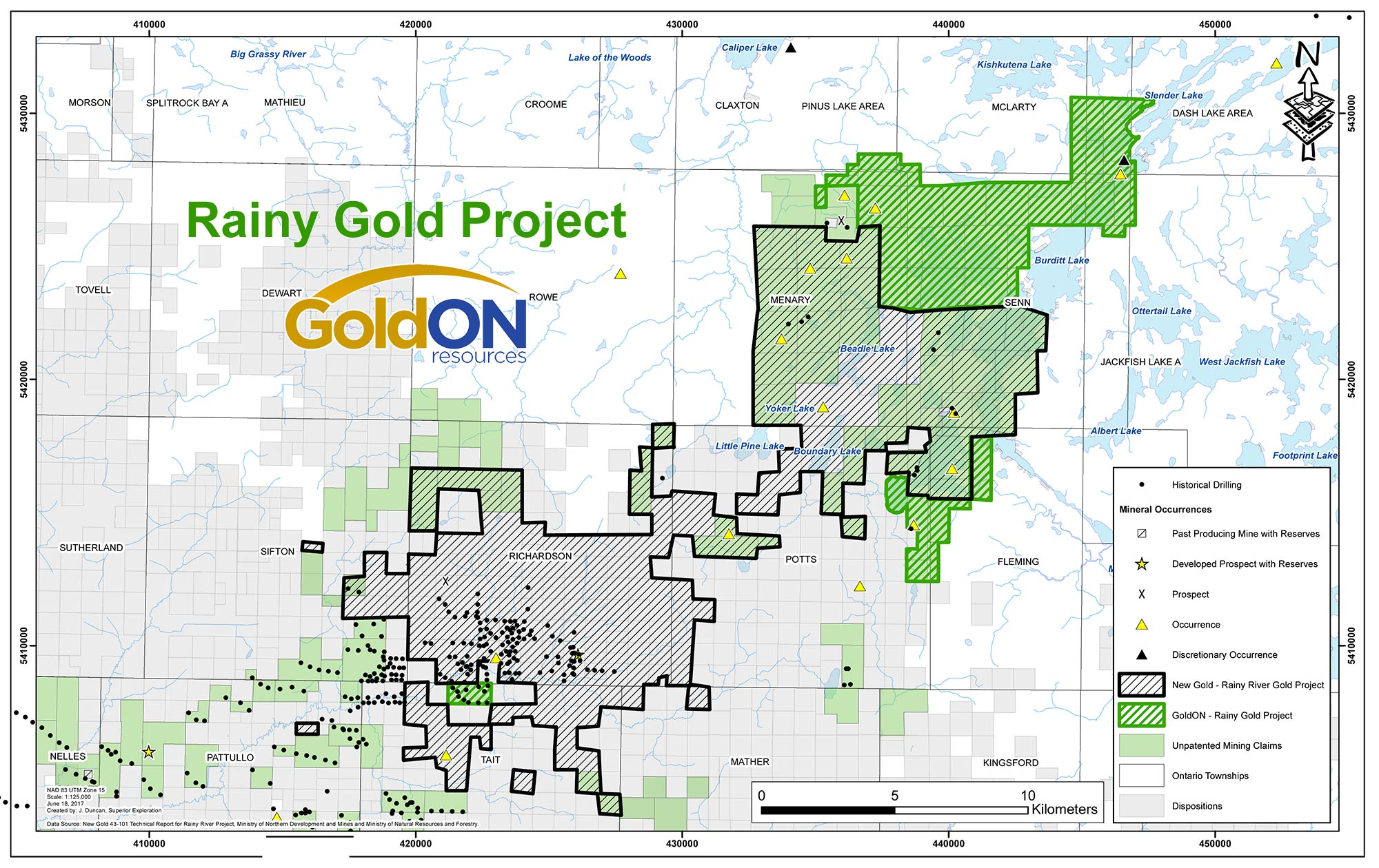 Rainy Gold Project Claims Map