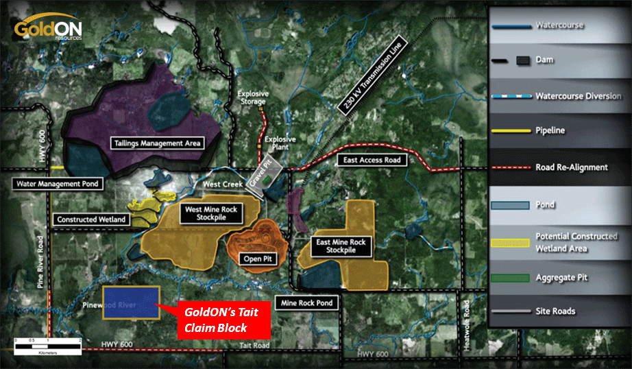 GoldON's three Claim Blocks are 3, 7.5 and 12 km from New Gold's new Au-Ag mine/mill complex